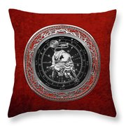 Western Zodiac - Silver Taurus - The Bull On Red Velvet Throw Pillow