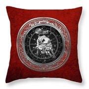 Western Zodiac - Silver Taurus - The Bull On Red Velvet Throw Pillow