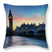 Westminster At Dusk Throw Pillow