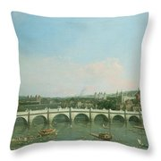Westminster Bridge From The North With Lambeth Palace In Distance Throw Pillow