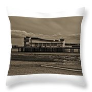 Weston  Super Mare   Outflow  Pier  Black  White Throw Pillow