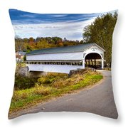 Westport Covered Bridge Throw Pillow by Jack R Perry