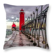 Wet At Grand Haven Throw Pillow
