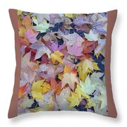 Wet Fall Leaves Throw Pillow