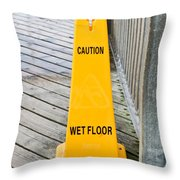 Wet Floor Warning Throw Pillow