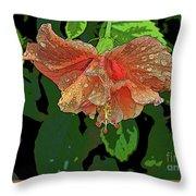 Wet Hibiscus Throw Pillow