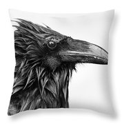 Wet Raven Throw Pillow