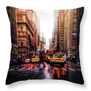 Wet Streets Of New York City Throw Pillow