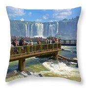Wet Walkways In The Iguazu River In Iguazu Falls National Park-brazil  Throw Pillow