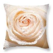Wet White Rose Throw Pillow