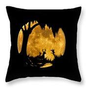 Wetland Wildlife Massive Moon .png Throw Pillow