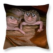 We've Got A Secret - Smiling Leopard Geckos Throw Pillow