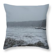 Weymouth Back River In A Snow Storm Throw Pillow