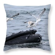 Whale-boarding Throw Pillow