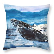 Whale Breaching Throw Pillow