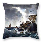 Whale Destroying Whaling Ship Throw Pillow