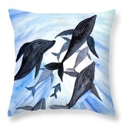 Whale Family On Sun Ray Throw Pillow