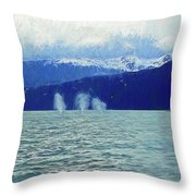 Whales Blowing Throw Pillow