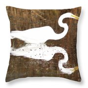 What The Egret Caught Throw Pillow
