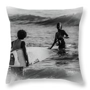 What's Up Surfer Girl Throw Pillow