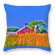 Wheat Farm Near Gettysburg Throw Pillow