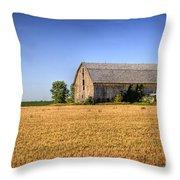 Wheat Field Barn Throw Pillow