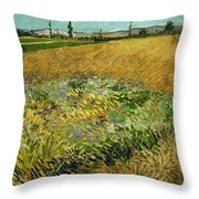 Wheat Field With Alpilles Foothills In The Background At Wheat Fields Van Gogh Series, By Vincent  Throw Pillow