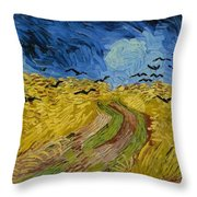 Wheat Field With Crows At Wheat Fields Van Gogh Series, By Vincent Van Gogh Throw Pillow