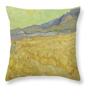 Wheat Field With Reaper At Wheat Fields Van Gogh Series, By Vincent Van Gogh Throw Pillow