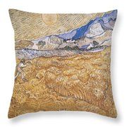 Wheat Field With Reaper Harvest In Provence Throw Pillow