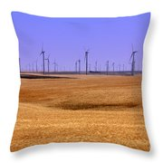 Wheat Fields And Wind Turbines Throw Pillow