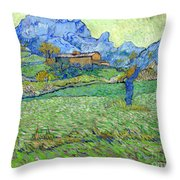 Wheat Fields In A Mountainous Landscape, By Vincent Van Gogh, 18 Throw Pillow