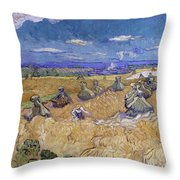Wheat Fields With Reaper, Auvers Throw Pillow