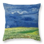 Wheatfield Under Thunderclouds At Wheat Fields Van Gogh Series, By Vincent Van Gogh Throw Pillow