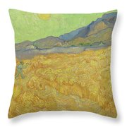 Wheatfield With A Reaper Saint-remy-de-provence, September 1889 Vincent Van Gogh 1853 - 1890 Throw Pillow