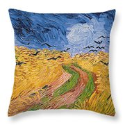 Wheatfield With Crows Throw Pillow by Vincent van Gogh
