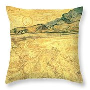 Wheatfield With Reaper And Sun Throw Pillow