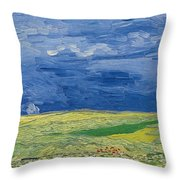 Wheatfields Under Thunderclouds Throw Pillow