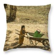Wheelbarrow Girl  Throw Pillow