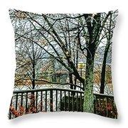 Wheeling Waterfront Throw Pillow