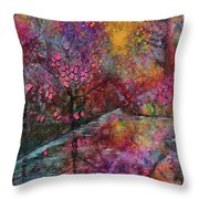 When Cherry Blossoms Fall Throw Pillow
