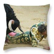 When The Bull Gores The Matador II Throw Pillow