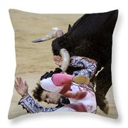 When The Bull Gores The Matador Iv Throw Pillow