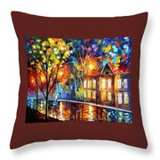 When The City Sleeps 2 - Palette Knife Oil Painting On Canvas By Leonid Afremov Throw Pillow