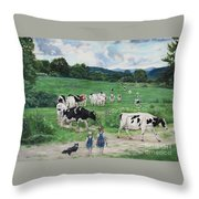 When The Cows Come Home, It's Milking Time Throw Pillow