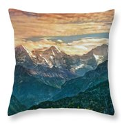When The Sun Says Good Bye To The Mountains  Throw Pillow