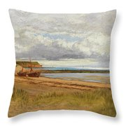 When The Tide Is Low  Maer Rocks, Exmouth, Throw Pillow
