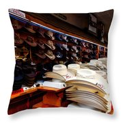 Where Cowboys Shop Throw Pillow