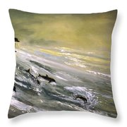Where Dolphins Play Throw Pillow