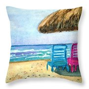 Peaceful Day At The Beach Throw Pillow